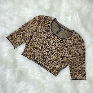 BCBG MAXAZRIA Isabelie Leopard Crop Top Sweater